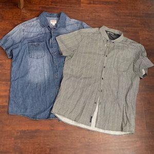 Men's collared denim shirt and dress shirt